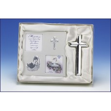 2pc SILVER BAPTISM PHOTO FRAME AND CROSS GIFT SET