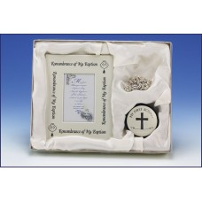 SILVER MY BAPTISM FRAME/ROSARY BOX SET WITH ROSARY