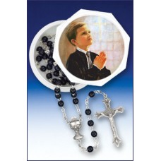 5MM BLACK ROSARY IN KEEPSAKE BOX - FINCHER-BOY