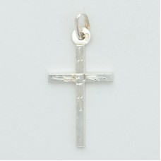 Sterling Silver Rhodium Plated Medium Square Tube Cross