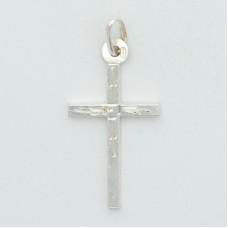 Sterling Silver Rhodium Plated Medium Square Tube Cross