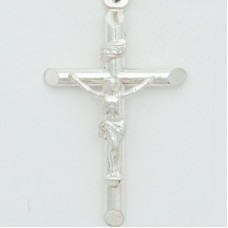 Sterling Silver Rhodium Plated Medium Round Tube Crucifix