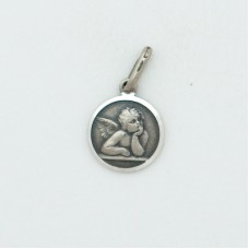 Guardian Angel 10mm Diameter (Small) Sterling Silver Pendent