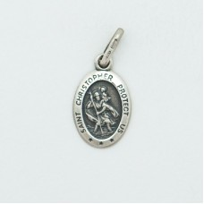 St. Christopher 12MM Shiny Oval (Small) Sterling Silver Pendent