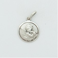 Guardian Angel 12mm Diameter (Small) Sterling Silver Pendent
