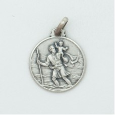 St. Christopher 16MM Diameter (Med) Sterling Silver Pendent W/Airplane
