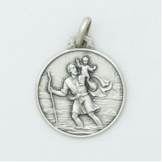 St. Christopher 18MM Diameter (Med) Sterling Silver Pendent