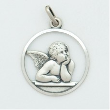 Guardian Angel 20mm Diameter (Large) Sterling Silver Pendent
