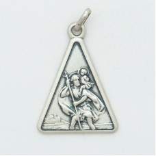 St. Christopher 20MM Triangle (Med) Sterling Silver Pendent
