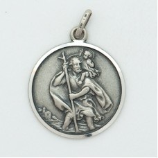 St. Christopher 20MM Diameter (Large) Sterling Silver Pendent W/Car
