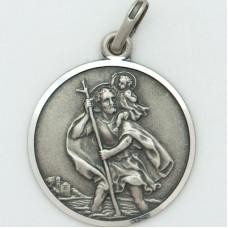St. Christopher 24MM Diameter (Large) Sterling Silver Pendent