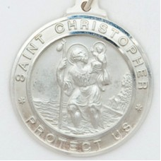St. Christopher 30MM Diameter (Extra Large) Sterling Silver Pendent