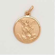 10K Gold 16MM Med. Round St. Michael Medal