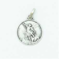Sterling Silver 14MM Small Round St. Michael Medal