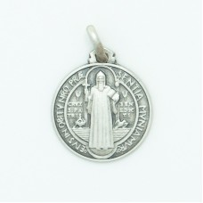Sterling Silver 16MM Med. Round St. Benedict Medal