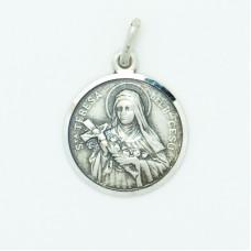 Sterling Silver 16MM Med. Round St. Teresa Medal