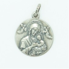 Sterling Silver 18MM Large Round Perpetual Help Medal