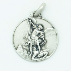 Sterling Silver 21MM Large Round St. Michael Medal