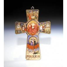 "26"" WOOD LIFE OF CHRIST CROSS W/GOLD HIGHLIGHTS"