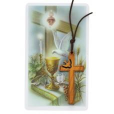 OLIVE WOOD DOVE CROSS W/HOLY