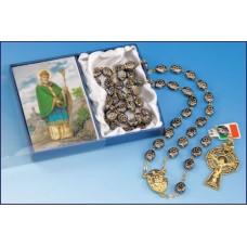 GOLD HEMATITE SHAMROCK ROSARY-BOXED