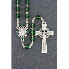 6mm EMERALD WITH PEWTER CENTER AND CRUCIFIX ROSARY
