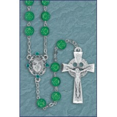 7mm ROUND SHAMROCK WITH PEWTER CENTER AND CRUCIFIX ROSARY