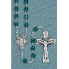 6mm ROUND EMERALD STERLING SILV ER C&C IRISH ROSARY