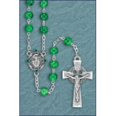 7mm GREEN MARBLE PEWTER IRISH ROSARY