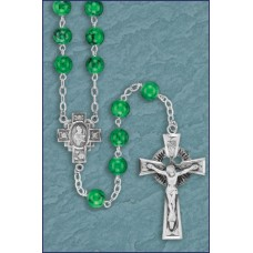 7mm GREEN MARBLE STERLING SILVER IRISH ROSARY