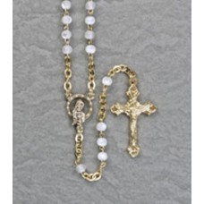 "4mm PEARL GOLD ROSARY 15"" LENGTH"