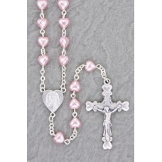 "6x6mm PINK PEARL HEART SHAPED ROSARY 19"" LENGTH"