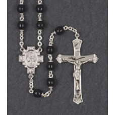 6mm BLACK LOC-LINK ROSARY WITH ENGRAVED CENTER & CRUCIFIX