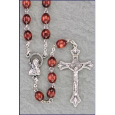 5x7mm MAROON OVAL WOOD ROSARY