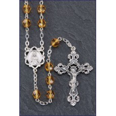 6mm ROUND TOPAZ ROMAGNA CENTER AND CRUCIFIX ROSARY