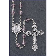 6mm ROUND LIGHT AMETHYST ROMAGN A CENTER AND CRUCIFIX ROSARY
