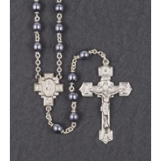 6mm ROUND HEMATITE ENGRAVED CENTER AND CRUCIFIX ROSARY