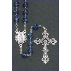 8MM BLUE GLASS FLORAL BEAD ROSARY