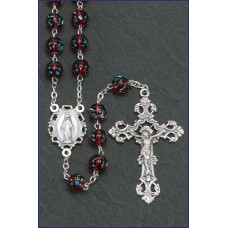 8MM RUBY GLASS FLORAL BEAD ROSARY