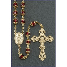 7mm DOUBLE CAPPED RUBY BOHEMIAN CRYSTAL ROSARY