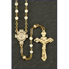 4mm MOTHER OF PEARL GOLD ROSARY