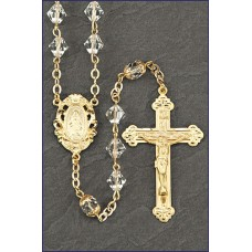 7mm CUT CRYSTAL GOLD ROSARY