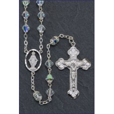 7x7mm RONDEL AB TIN CUT CRYSTAL ROSARY