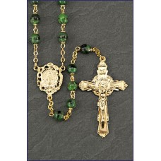 6mm MALACHITE BEAD GOLD ROSARY