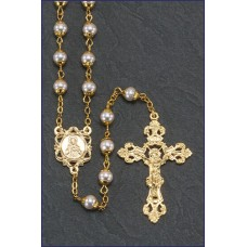 6MM PEARL GOLD DOUBLE CAPPED ROMAGNA ROSARY