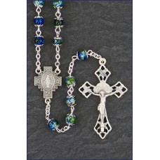 6mm EMERALD DOUBLE CAPPED MARBL E ROMAGNA ROSARY