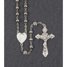 5mm ROUND SILVER BEAD STERLING SILVER CENTER & CRUCIFIX ROSARY