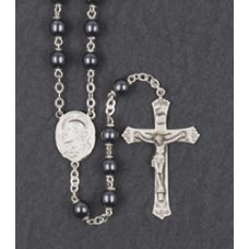 7mm ROUND HEMATITE LOC-LINK STERLING SILVER CENTER & CRUCIFIX
