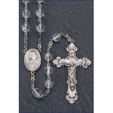7mm ROUND CRYSTAL TIN CUT ALL STERLING SILVER EXCELSIOR ROSARY