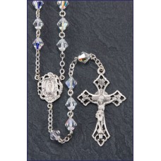 7mm RONDELLE CRYSTAL AB ALL STERLING SILVER EXCELSIOR ROSARY